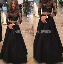lolipromdress review lolipromdress black long sleeves a line lace two pieces prom dresses