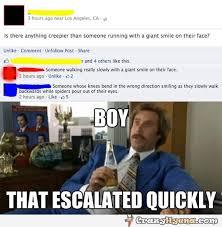 Status Meme - creepier running giant smile face facebook status meme but it s
