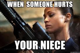 Niece Meme - when someone hurts your niece zoe saldana meme generator