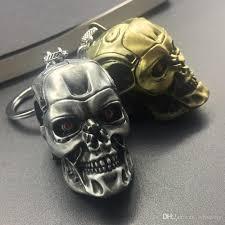 silver skeleton ring holder images Newest the terminator skull head shape model alloy keychain jpg