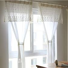 pure white rose floral embroidery lace curtains