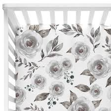 hazy gray watercolor bouquet crib bedding u2013 caden lane