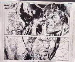 jim lee superman original art batman x men