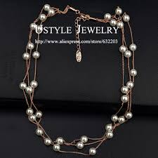 pearl beads necklace images Ustyle 3 string small 6mm pearl beads multi strand floating pearl jpg