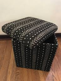 Storage Cubes Ottoman by Vintage Mali West African Black White Mudcloth Storage Ottoman Cube