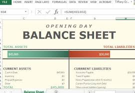 Opening Day Balance Sheet Template Opening Day Balance Sheet For Excel