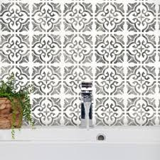 seville tile floor wall furniture stencil by dizzy duck designs