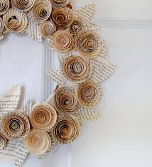 home element recycled book paper flower wreath for home christmas