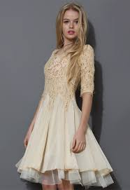 ivory pearly decor mid sleeve lace dress retro indie and unique