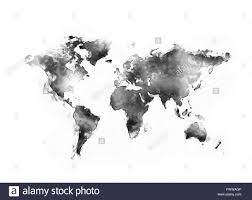 Black And White World Map Abstract World Map Painting O White Background Stock Photo