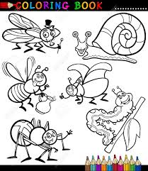 black and white coloring book or page cartoon illustration set