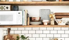 cool kitchen shelf ideas with white subway tiles backsplash 9482