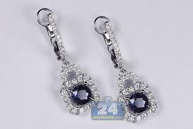 white gold dangle earrings womens sapphire diamond dangle earrings 18k white gold 2 82 ct