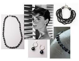 hepburn earrings hepburn style with black pearls jaima company