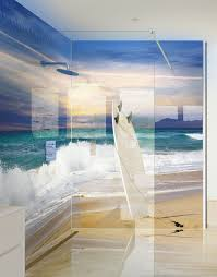 surf board in the sand on a beach printed acrylic shower panel