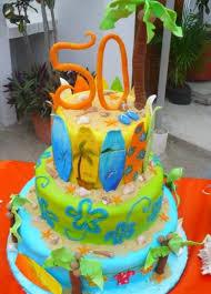 Tropical Theme Birthday Cake - three tier tropical theme 50th birthday cake jpg 1 comment