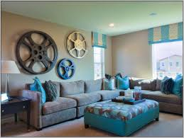 teal colour scheme living room ideas with unique wall decor and