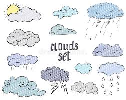 hand drawn doodle set of different clouds sketch collection