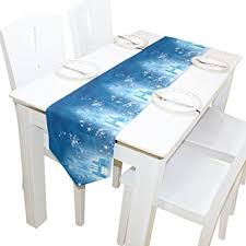 ice blue table runner amazon com ablink beautiful ice castle 100 polyester