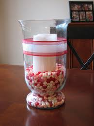 decorations candy in glass with candle for diy valentine table