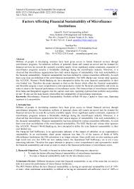 microfinance thesis factors affecting financial sustainability of microfinance institutio