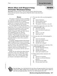 main idea and detail worksheet free worksheets library download
