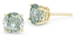 green amethyst earrings green amethyst stud earrings 14k yellow gold