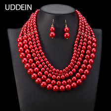 pearl necklace wedding jewelry images Uddein nigerian wedding jewelry set multi layer pearl necklace jpg