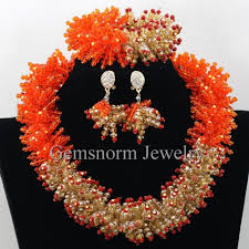 chunky crystal necklace sets images Gothic orange gold chunky statement necklace set african nigerian jpg