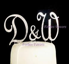 w cake topper set of 3 large gorgeous real rhinestone monogram letters wedding