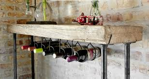 industrial reclaimed wood console table wine bar with pipe