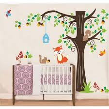 wall decals australia wall art stickers tree nursery baby room tree wall sticker for nursery squirrel fox mushroom wall decal