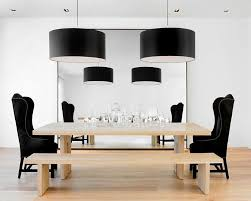 Dining Room Drum Pendant Lighting Wooden Dining Table With Bench Also Decorative Black Wing Back