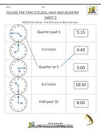 Worksheets Grade 3 Clock Problems For 2nd Grade Clock Half And Quarter Sheet 3 O