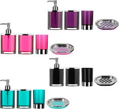 piece bathroom accessories set plastic body chrome effect soap