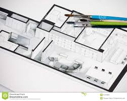 group of vivid colorful brushes set on real estate floor plan