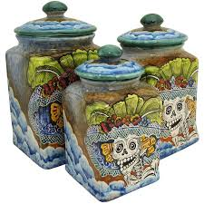 square kitchen canisters santa rosa majolica square day of the deadkitchen canister msr006