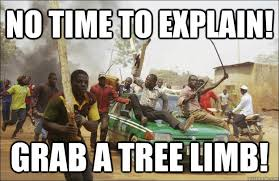 No Time To Explain Meme - no time to explain grab a tree limb no time to explain