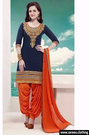 new arrivel of blue and orange patiala suit dress material