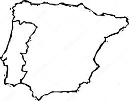 Portugal And Spain Map by Woodcut Illustration Of Map Of Portugal And Spain U2014 Stock Vector