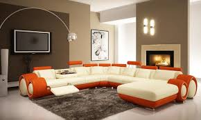 Orange Living Room Set Modern Furniture For Living Room With Brown Wall And Combination