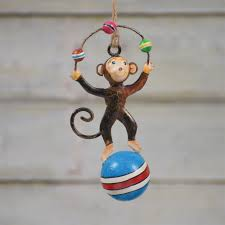 painted metal circus monkey ornament set of 2 by homart seven