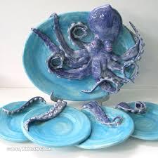 ceramic platter ceramic octopus sculpture platter