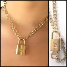 gold lock necklace images Louis vuitton necklace authentic upcycled lock with removable jpg