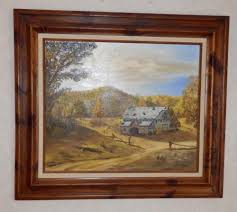 vtg 3 pc homco home interior bird picture set grouping barbara vtg oil 20x24 painting on canvas by e howe wood frame barn splitrail fence fall