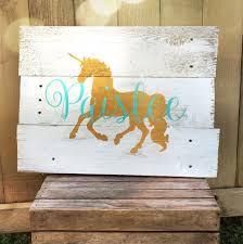rustic large personalized unicorn name reclaimed pallet wood sign