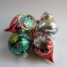 vintage ornaments glass balls 1950 s painted