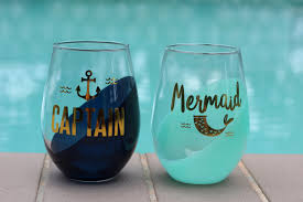 mermaid and captain stemless wine glass set charleston flower market