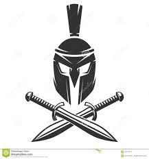 spartan helmet with crossed swords stock vector image 93814107
