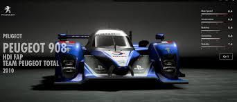 peugeot sports car 2017 peugeot 908 hdi fap team peugeot total gran turismo sport car list